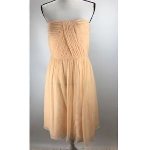 Donna Morgan Dress Size 12 Silk Strapless Ruched